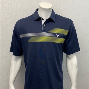 Callaway Golf Opti-Dri Blue Yellow V Design Short Sleeve Polo Shirt Size X-Large